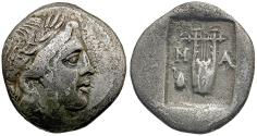 Ancient Coins - Lycian League. Masicytes AR Hemidrachm / Apollo and Lyre