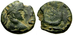 Ancient Coins - Caracalla, Mesopotamia, Carrhae Æ14 / Crescent and Star