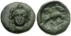 Ancient Coins - Euboia.  Chalkis Æ14 / Hera / Eagle