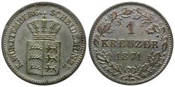 World Coins - Germany. Wurttemberg. Karl I (1864-1891) AR Kreuzer
