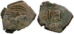 Ancient Coins - *Sear 808* Byzantine Empire. Heraclius (AD 610-641) with Martina and Heraclius Constantine Æ Follis