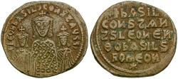 Ancient Coins - *Sear 1712* Byzantine Empire. Basil I the Macedonian Æ Follis