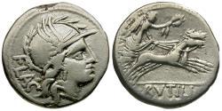 Ancient Coins - 77 BC - Roman Republic. L. Rutilius Flaccus AR Denarius / Victory in Biga