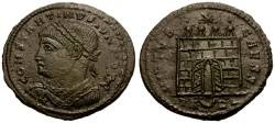 Ancient Coins - Constantine II as Caesar Æ Follis / Open Door Camp Gate