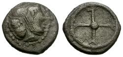 Ancient Coins - Sicily.  Syracuse AR Litra / Arethusa / Wheel