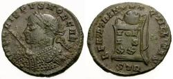 Ancient Coins - EF/EF Crispus Æ3 / Globe on Altar