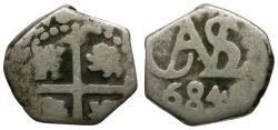 World Coins - Bolivia. Spanish Colonial. Charles II AR 1/2 Reale Cob