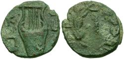 Ancient Coins - Judaea. Bar Kochba War Æ Middle Bronze / Lyre