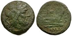 Ancient Coins - 206-195 BC - Roman Republic Æ Semis / Rostrum Tridens series / EX GOODMAN COLLECTION