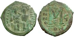 Ancient Coins - *Sear 360* Byzantine Empire. Justin II Æ Follis / Constantinople Mint