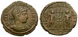 Ancient Coins - Constantius II as Caesar Æ3 / Soldiers and Standards