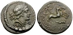 Ancient Coins - 91 BC - Roman Republic D. Silanus L.f. AR Denarius / Grasshopper