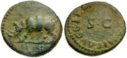 Ancient Coins - Domitian Æ Quadrans / Rhinoceros