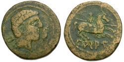 Ancient Coins - Spain. Iberia. Jalon Valley. Bursau Æ27 / Horseman