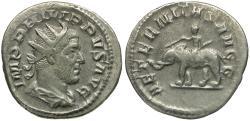 Ancient Coins - Philip I (AD 244-249) AR Antoninianus / Elephant and Mahout