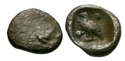 Ancient Coins - aVF/aVF Ionia, Miletos AR Tetartemorion / Lion / Bird