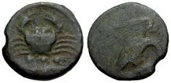 Ancient Coins - aVF/F Sicily Akragas Æ Tetras / Crab