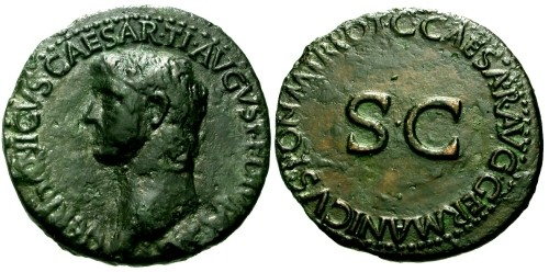Ancient Coins - VF/VF Germanicus AE AS / SC