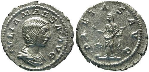 Ancient Coins - VF/VF Julia Maesa Denarius / Pietas