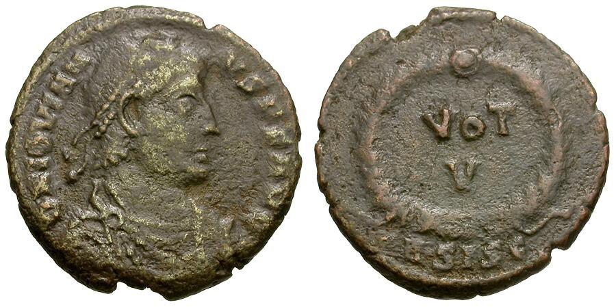 Ancient Coins - Jovian.  Æ Centenionalis / Votive Wreath