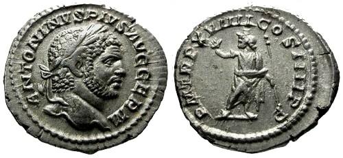 Ancient Coins - EF/EF Caracalla AR Denarius / Serapis