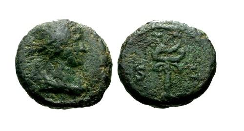 Ancient Coins - F/F Anonymous AE Quadrans / Caduceus