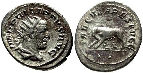 Ancient Coins - chVF Phillip I AR Antoninianus / She Wolf