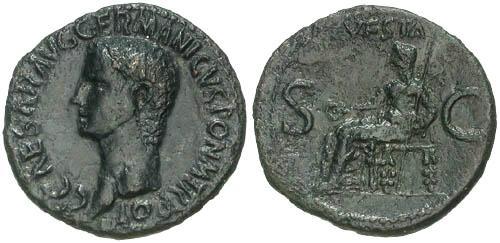 Ancient Coins - F+/F+ Caligula AS / Vesta