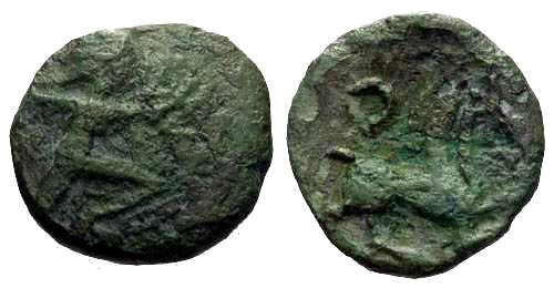 Ancient Coins - F/F Bellovaci Tribe Bronze / Scarce / Running Cubist & Horse