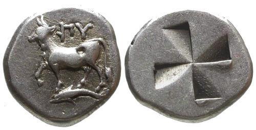 Ancient Coins - VF/VF Byzantion AR Siglo / Bull and incuse