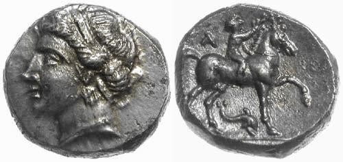 Ancient Coins - EF/EF (FDC) Calabria, Tarentum: Campano-Tarentine didrachm (Nomos)