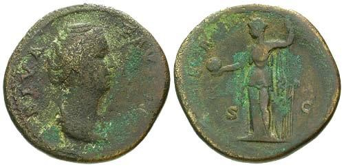 Ancient Coins - F/F Diva Faustina Sestertius / Providentia