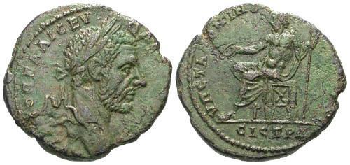 Ancient Coins - VF/VF Macrinus AE27 Nicopolis / Zeus