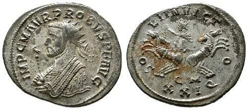 Ancient Coins - EF/EF Probus Silvered Antoninianus / Sol in split quadriga