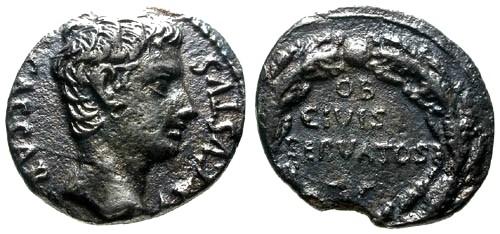 Ancient Coins - VF/VF Augustus Fouree AR Denarius / Wreath