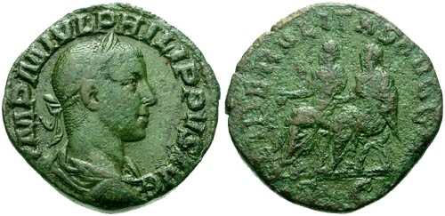 Ancient Coins - Philip II AE Sestertius / Philip I and II seated