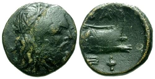 Ancient Coins - VF/VF Macedonian Kings Demetrius Poliorcetes AE14 / Zeus / Prow