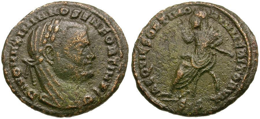 Ancient Coins - Divo Maximianus Æ 1/4 Follis / Maximianus seated