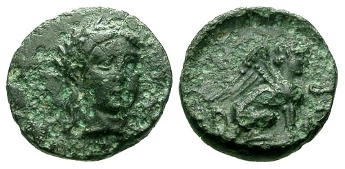 Ancient Coins - VF/VF Troas Gergis AE9 / Sibyl / Sphinx