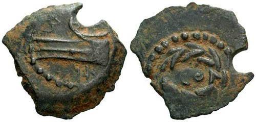 Ancient Coins - EF/EF Herod Archelaus Prutah / Prow