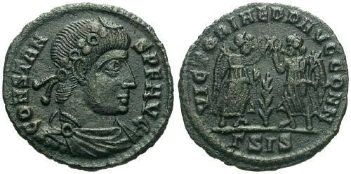 Ancient Coins - VF/VF Constans AE4 / Two Victories