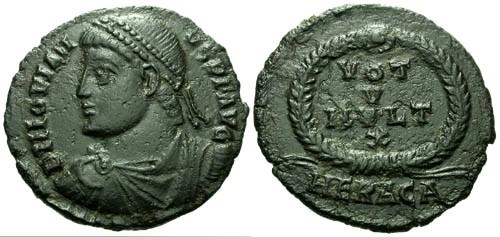 Ancient Coins - aVF/aVF Jovian AE3 / Votive