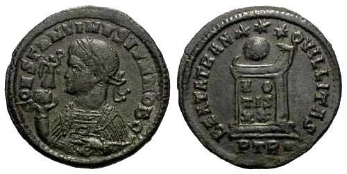 Ancient Coins - gVF Constantine II AE3 / Altar / R3