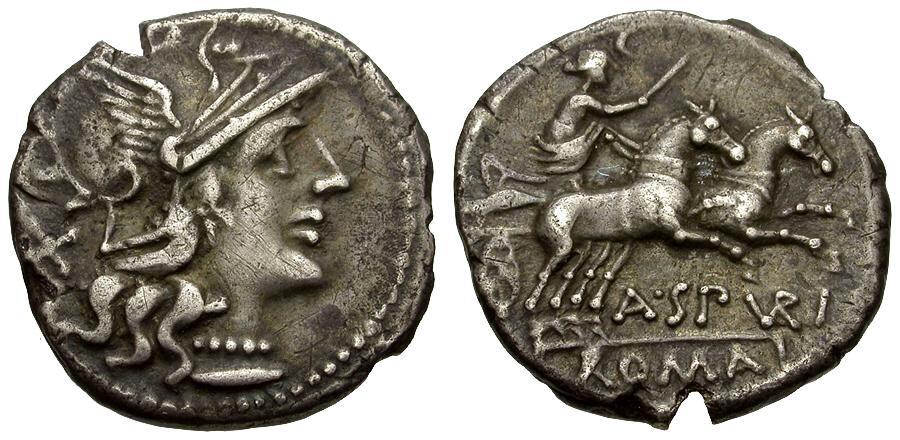 Ancient Coins - 139 BC - Roman Republic.  A. Spurilius AR Denarius / Luna in Biga