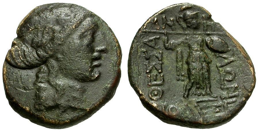 Ancient Coins - Thessaly.  Thessalian League Æ20 / Apollo / Athena