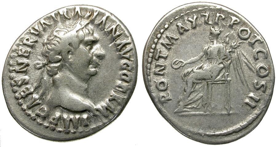Ancient Coins - Trajan (AD 98-117). AR Denarius / Victory