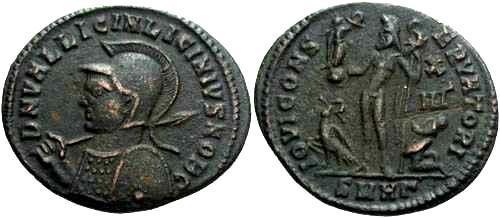 Ancient Coins - VF+ Licinius II reduced follis, Jupiter reverse