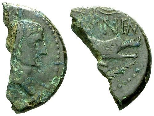 Ancient Coins - gF/F Augustus and Agrippa Colonial AE25 Half Cut for Change / Crocodile