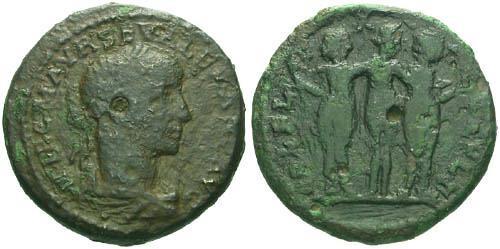 Ancient Coins - F/F Severus Alexander AE24 Deultum / Three Graces
