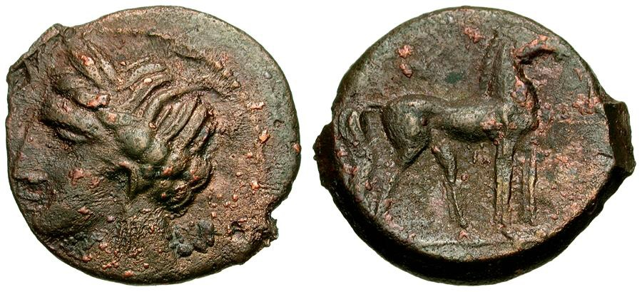 Ancient Coins - Zeugitania. Carthage. Second Punic War Æ23 / Horse
